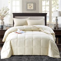All Season Down Alternative Comforter Set- 2pc Box Stitched- Reversible Comforter with One Sham-Quilted Duvet Insert with Corner Tabs for Duvet Cover-Hypoallergenic, Supersoft, Wrinkle Resistant -Twin