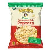 (2 Pack) Annie's Butter and Sea Salt Organic Popcorn, 4 oz Bag