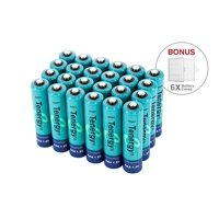 Tenergy AAA 1000mAh High Capacity NiMH Rechargeable Batteries, 24-Pack with 6 Free Holders