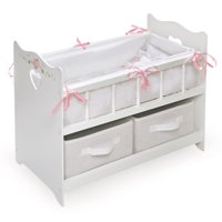 "Badger Basket Doll Crib with Bedding and Two Baskets - White Rose - Fits American Girl, My Life As & Most 18"" Dolls"