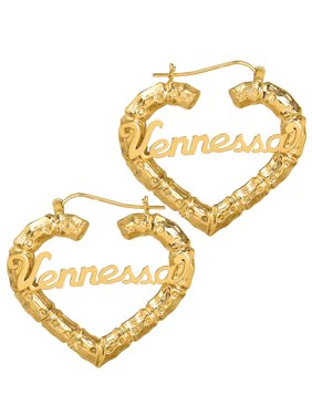 10K or 14k Yellow Gold Personalized Bamboo Style Heart Polished Name Earrings
