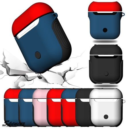 """Spencer 2 in 1 Shockproof Silicone AirPods Case Cover Waterproof Protective Skin Kit for Apple Wireless AirPods Charging Case """"Black"""""""