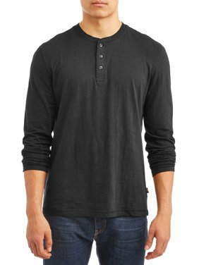 Men's Long Sleeve Textured Slub Core Henley, Available Up To Size Xl