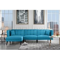 Mid-Century Style Sectional Couch Sleeper Futon, Reclining, Sky Blue