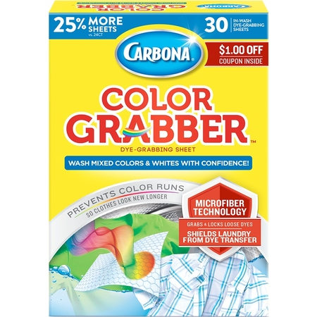 Carbona Color Grabber With Microfiber In-Wash Sheets, 30 Count