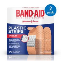 (2 Pack) Band-Aid Brand Plastic Strips Adhesive Bandages, All One Size, 60 ct