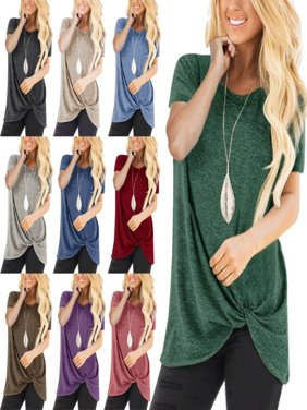 Womens Fashion Casual Loose Short Sleeved Solid Color Blouses Tunic Tops Shirts Plus Size