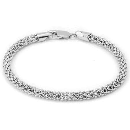 Sterling Silver Claddagh Bracelet - Italian Sterling Silver Popcorn Chain Bracelet, 7.5