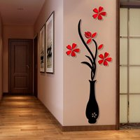 3D Wall Sticker Decals, Outgeek Removable Flowering Plant Wall Stickers Art Wall Decor for Living Room Bedroom Bathroom Restaurant Girls Kids