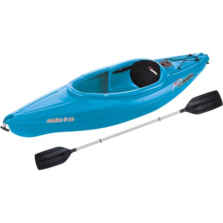 Sun Dolphin Aruba 8' SS Sit-In Kayak, Paddle Included 2 Person Travel Kayak