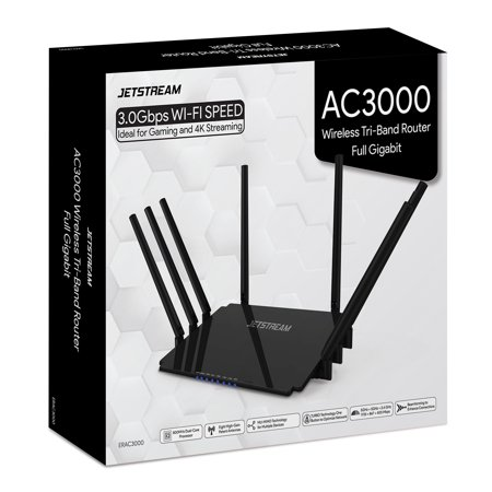 Jetstream AC3000 Tri-Band WiFi Gaming Router with 1GB RAM and 800 MHz Dual-Core Processing - Walmart
