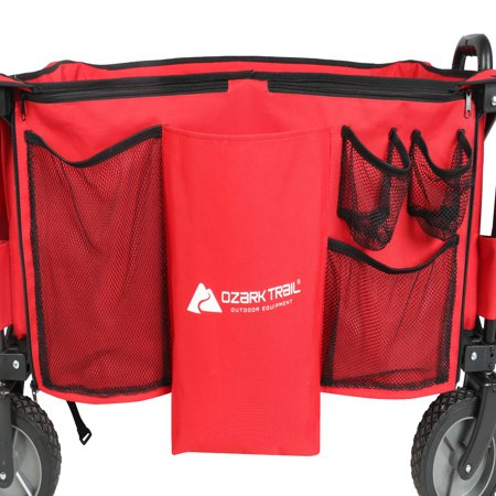 Ozark Trail Quad Folding Wagon with Telescoping Handle, Red