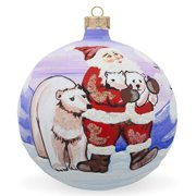 "4"" Santa, Polar Bear Animal Glass Ball Christmas Ornament"