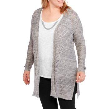 Faded Glory Womens Plus Pointelle Sweater Coat