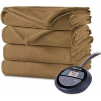 Sunbeam Electric Heated Velvet Plush Blanket, Twin Acorn