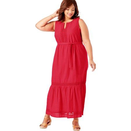 - Woman Within Plus Size Crochet Trim Tiered Sleeveless Maxi Dress