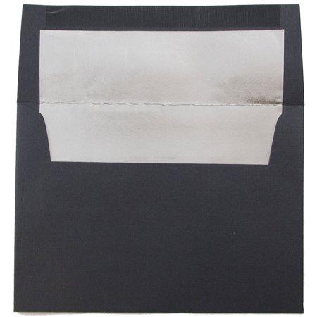 JAM Paper A6 Foil Lined Envelopes - 4 3/4 x 6 1/2 - Black Linen with Silver Foil Lining - 25/pack