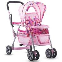 Joovy Toy 3 Doll Caboose Folding Pretend Play Children Tandem Stroller, Pink Dot