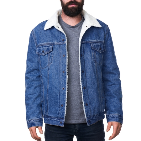 Guess Mens Jacket - Alpine Swiss Mens Sherpa Lined Denim Jacket Classic Button Up Jean Trucker Coat
