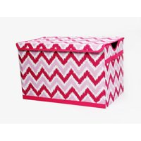 Bacati - MixNMatch Pink Zigzag Cotton Percale Fabric covered Storage, Toy Chest, 24.5 L x 15 W x 14 H inches