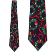 Christmas Wreaths Navy Necktie Mens Tie
