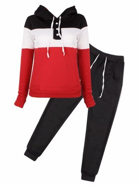 Women's Long Sleeve Tracksuits for Women, Casual Two-Piece Sportswear Hoodie Sweatshirt for Women, Black / Gray / Blue Tops with Sweatpants Gift for Ladies, S-XL