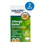 Equate Allergy Relief Cetirizine Antihistamine Tablets, 10 mg, 90 Ct