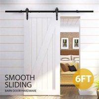 6 Ft Interior Black Steel Single Sliding Barn Closet Door Hardware Track System Kit Set