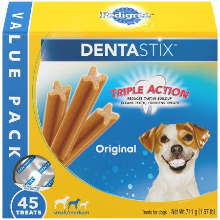 Pedigree Dentastix Small/Medium Dental Dog Treats, Original, 1.57 Lbs. Value Pack (45 (Sentinel Spectrum For Dogs 51 100 Lbs)