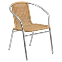 Flash Furniture Aluminum and Rattan Commercial Indoor-Outdoor Restaurant Stack Chair Multiple Colors
