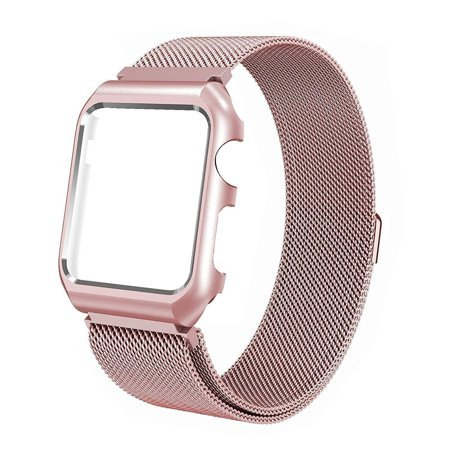 For Apple Watch Band with Case 44mm, Stainless Steel Mesh Milanese Loop with Adjustable Magnetic Closure Replacement Wristband iWatch Band for Apple Watch Series 4 - Rose Gold