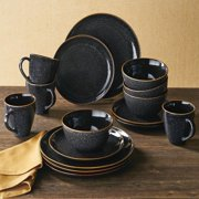 Better Homes & Gardens Burns Black Speckled Dinnerware Set, 16 Piece