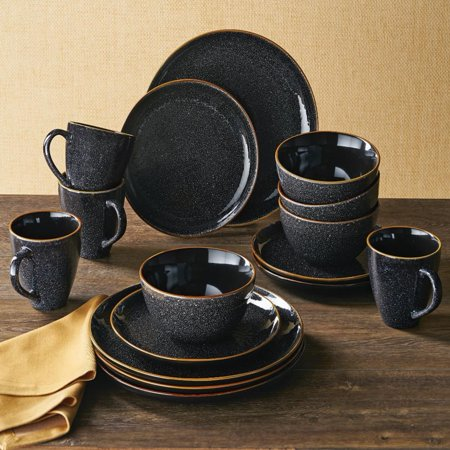 Better Homes & Gardens Burns Black Speckled Dinnerware Set, 16 - Black And White Checkered Dishes