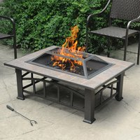 Axxonn Rectangular Tile Top Fire Pit, Brownish Bronze
