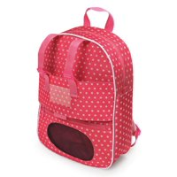 "Badger Basket Doll Travel Backpack with Plush Friend Compartment - Pink/Star - Fits American Girl, My Life As & Most 18"" Dolls"