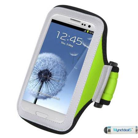 - Premium Sport Armband Case for Alcatel  One Touch Evolve 2, 4037T (One Touch Evolve II), 7030Y (One Touch), 988B (One Touch Shockwave), ADR3045US (One Touch Shockwave), OneTouch Idol Mini (Green) + Mi