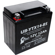 Replacement 2012 Kawasaki Ninja ZX-14 1400 CC Factory Activated, Maintenance Free, Motorcycle Battery - 12V, 12AH, UB-YTX14-BS