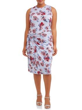 Women's Plus Size Sleeveless Knit Dress with Tie Waist
