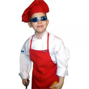 small children kids tomato red chef set apron & adjustable hat quality lite