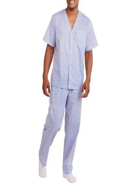 Fruit of the Loom Men's Short Sleeve Long Leg Print Pajama Set