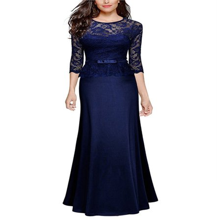 Women Vintage Lace Maxi Dress 3/4 Sleeve Slim Cocktail Formal Evening Ball Gowns Party Prom Bridesmaid Wedding