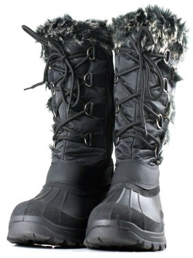 OwnShoe Women's Lace Up Faux Fur Rubber Duck Snow Boots