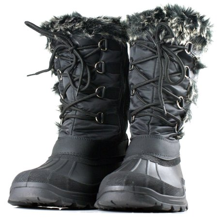 Faux Snow (OwnShoe Women's Lace Up Faux Fur Rubber Duck Snow)