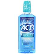 (2 pack) ACT Restoring Anticavity Fluoride Mouthwash Cool Mint, 18 oz