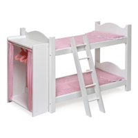 """Badger Basket Doll Armoire Bunk Bed with Ladder - White/Pink - Fits American Girl, My Life As & Most 18"""" Dolls"""