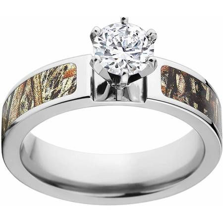Duckblind Camo 1 Carat T.G.W. Round CZ in 14kt White Gold Prong Setting Cobalt Engagement Ring with Polished Edges and Deluxe Comfort -