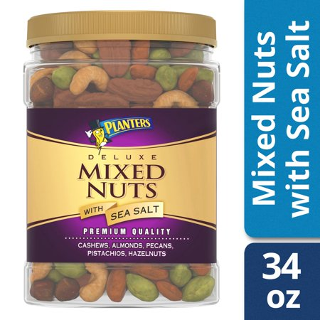 Planters Deluxe Mixed Nuts with Sea Salt, 34.0 oz - Mixed Nuts