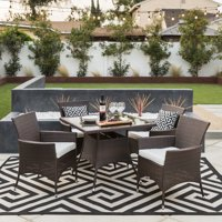 Best Choice Product 5-Piece Indoor Outdoor Wicker Patio Dining Set Furniture w/ Square Glass Top Table, Umbrella Cut Out, 4 Chairs - Brown
