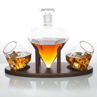 Atterstone Diamond Decanter Set / Full Set with Custom Mahogany Decanter Stand, 2 Diamond Whiskey Glasses, Whiskey Stones and Stainless Steel Funnel