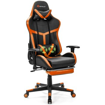 Costway Reclining Racing Chair with Lumbar Support Footrest